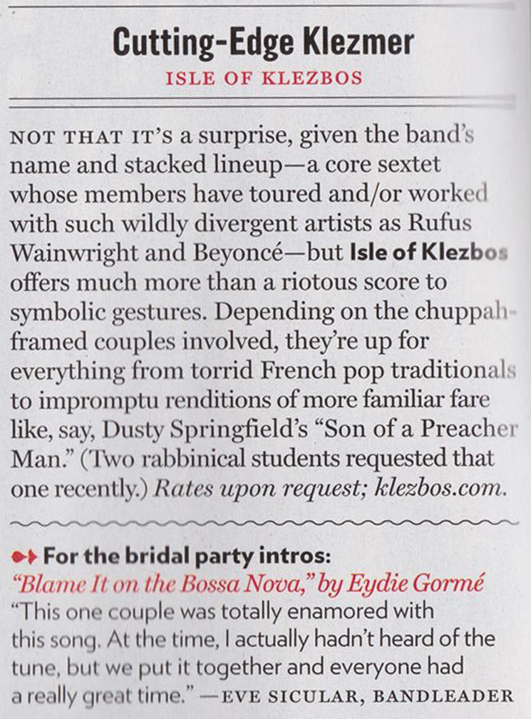 Isle of Klezbos featured in New York Magazine's Spring 2014 weddings issue