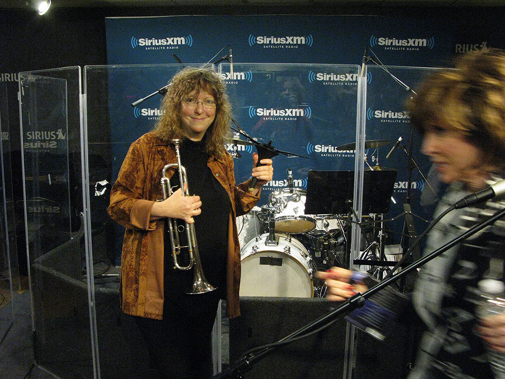 Pamela Fleming of Isle of Klezbos recording in-studio performance on Seth Rudetsky's SETH SPEAKS