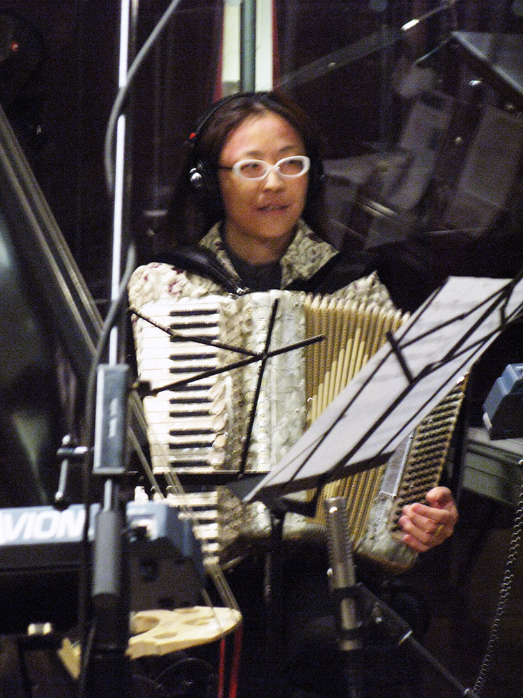 Shoko Nagai of Isle of Klezbos recording in-studio performance on Seth Rudetsky's SETH SPEAKS