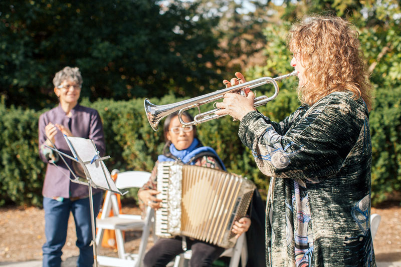 Isle of Klezbos performing for a wedding at New York Botanical Gardens